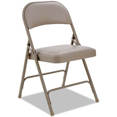 Alera® Traditional Steel Folding Chair with Padded Vinyl Back and Seat - Set of Four - Tan