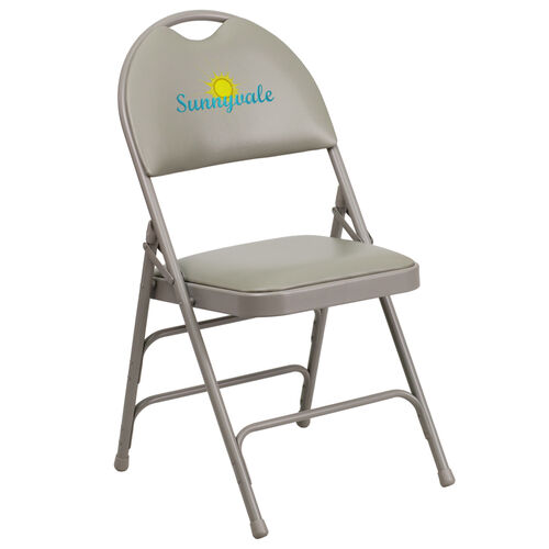 Our Embroidered HERCULES Series Ultra-Premium Triple Braced Gray Vinyl Metal Folding Chair with Easy-Carry Handle is on sale now.