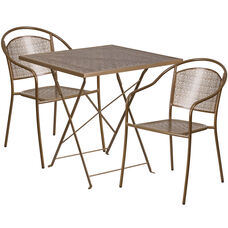 "Commercial Grade 28"" Square Gold Indoor-Outdoor Steel Folding Patio Table Set with 2 Round Back Chairs"