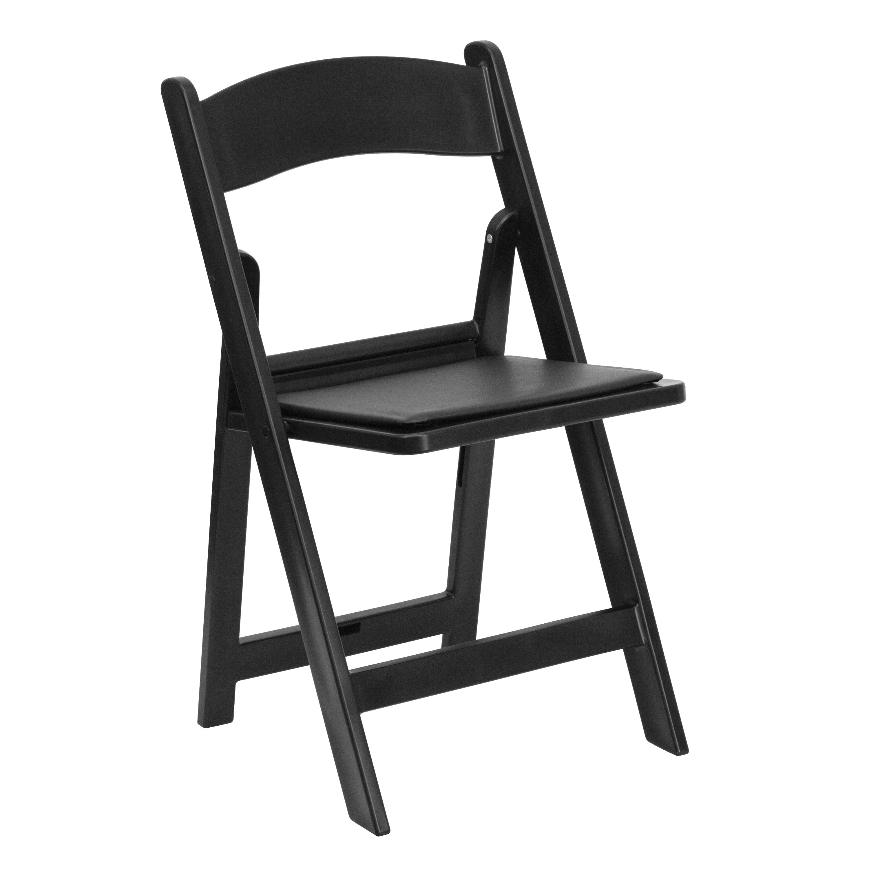 Charming HERCULES Series 1000 Lb. Capacity Black Resin Folding Chair With Black  Vinyl Padded Seat