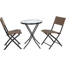 OSP Designs FCD332 3 Piece Metal Folding Table Set - Espresso Weave