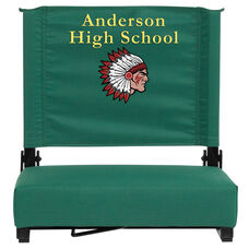 Embroidered Grandstand Comfort Seats by Flash with Ultra-Padded Seat in Hunter Green