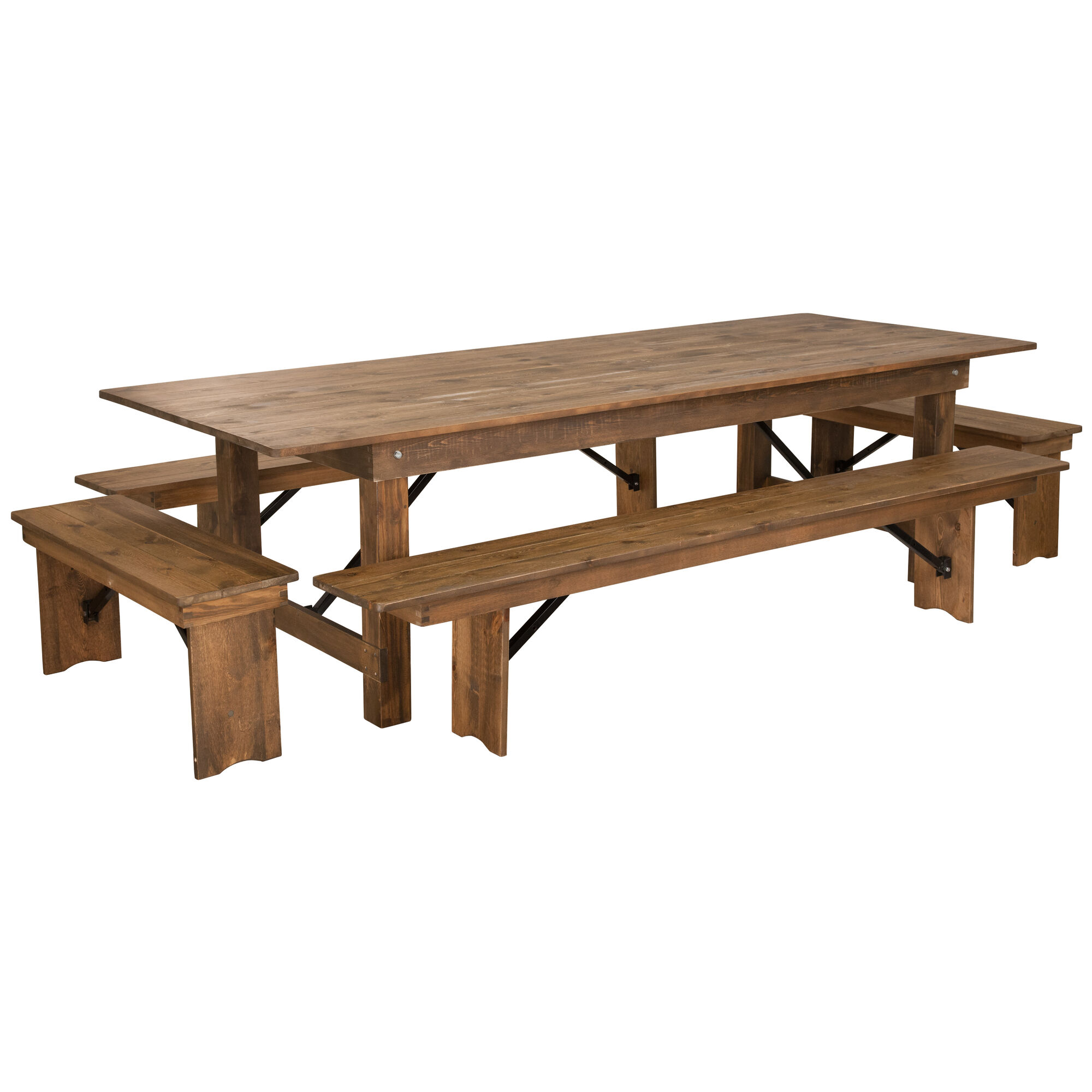Prime Hercules Series 9 X 40 Antique Rustic Folding Farm Table And Four Bench Set Ibusinesslaw Wood Chair Design Ideas Ibusinesslaworg