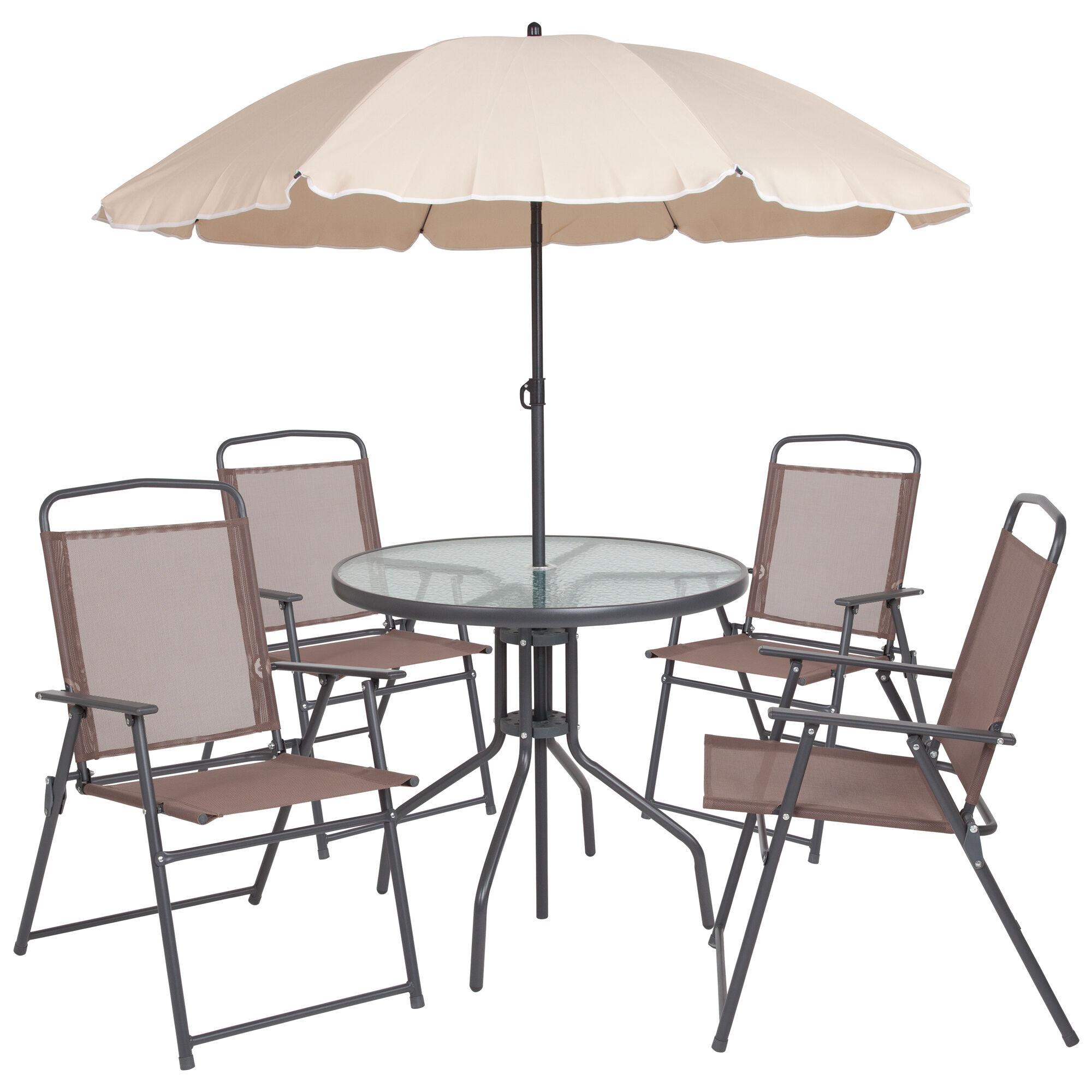 6pc Brown Patio Set Umbrella Gm