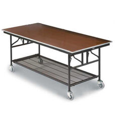 Mobile Utility Table with Sealed Walnut Plywood Top and Storage - 30