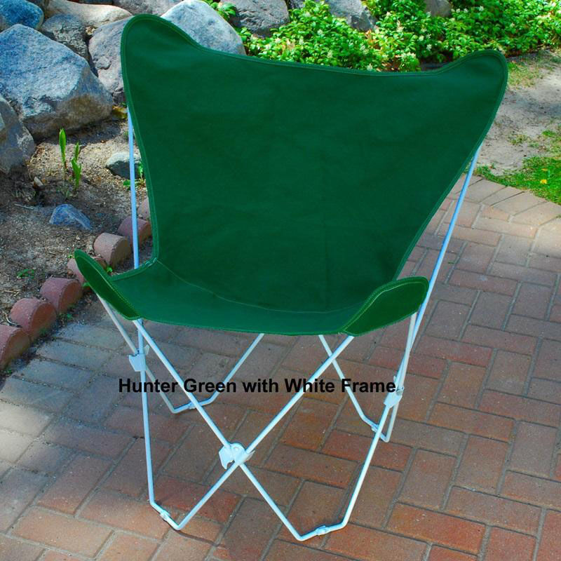 Folding Butterfly Chair With White Steel Frame And Cotton Cover   Hunter  Green