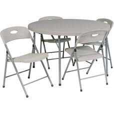 Work Smart 5 Piece Folding Set - 4 Chairs and 48