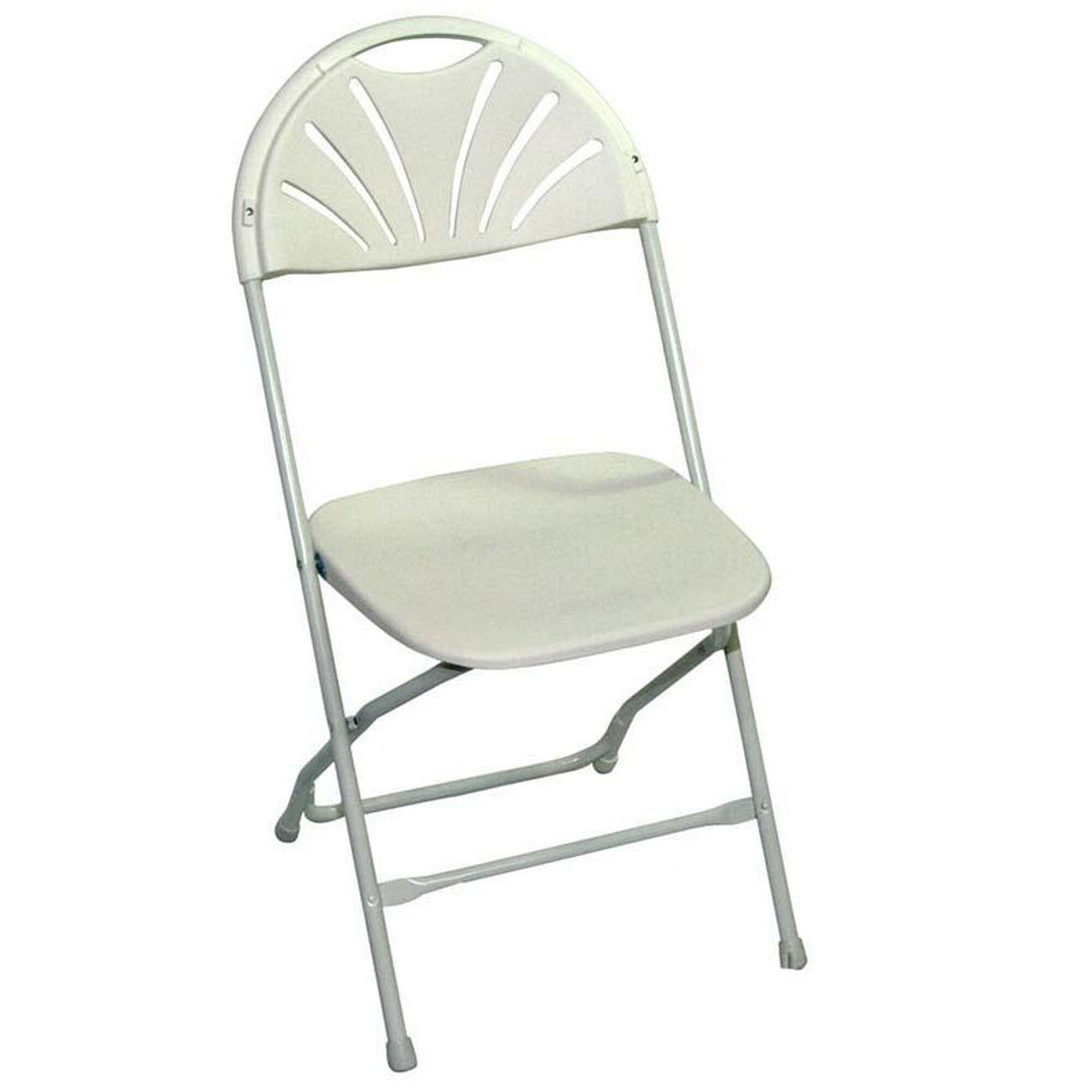 Awesome Champ Series 35H Fanback Powder Coated Steel And Resin Folding Chair Bright White Creativecarmelina Interior Chair Design Creativecarmelinacom