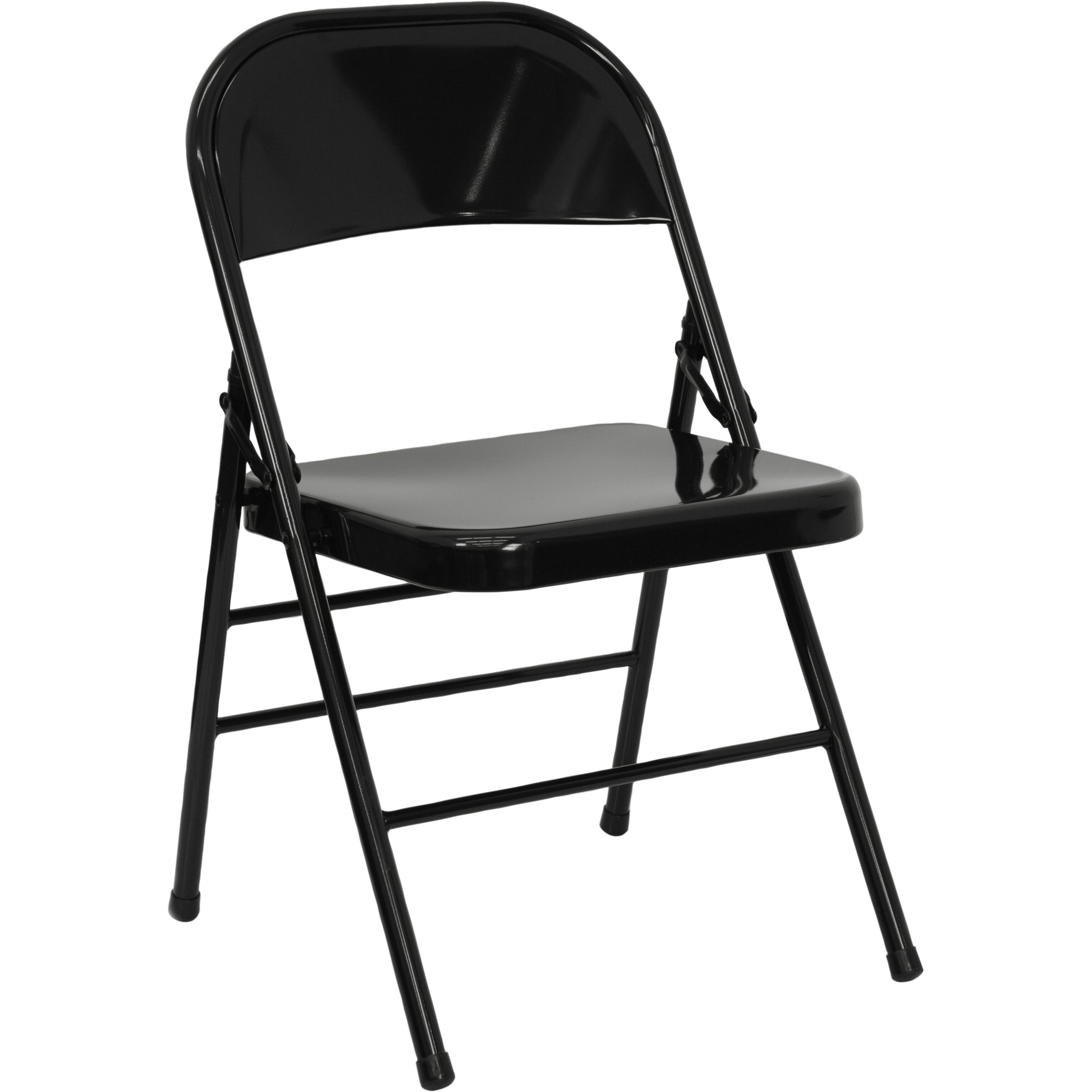 HERCULES Series Triple Braced U0026 Double Hinged Black Metal Folding Chair