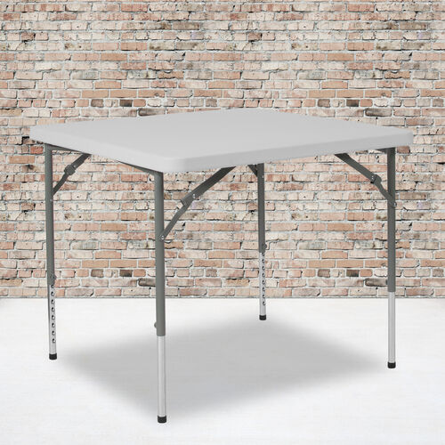 2.79-Foot Square Height Adjustable Granite White Plastic Folding Table
