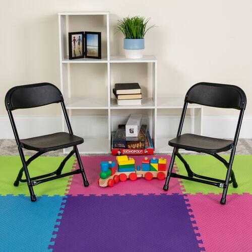 Kids Black Plastic Folding Chair