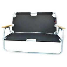 Two Person Folding Aluminum Frame Sport Couch with Storage - Black