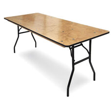 30''W x 48''D Plywood Folding Table with Locking Wishbone Style Legs