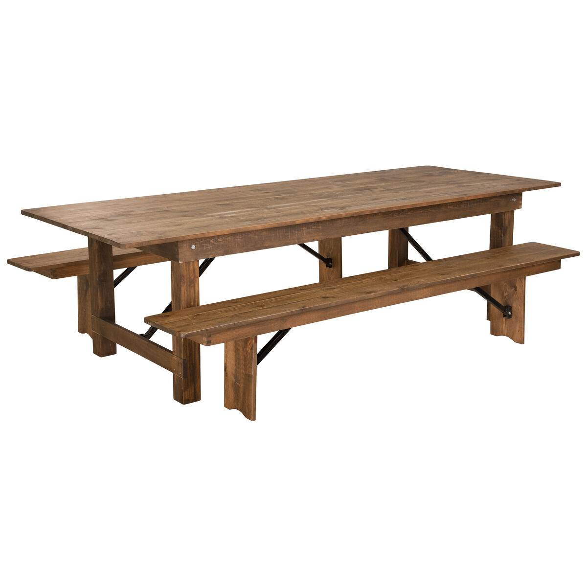 9x40 farm table2 bench set xa farm 6 gg foldingchairs4less our hercules series 9 x 40 antique rustic folding farm table and two watchthetrailerfo