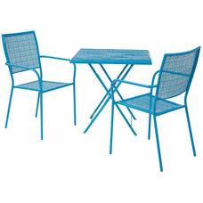 OSP Designs FCD1157 3 Piece Steel Folding Table Set - Blue