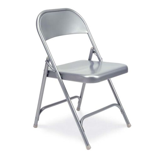 Our Quick Ship Multi-Purpose Steel Folding Chair with Silver Mist Finish - 17.75