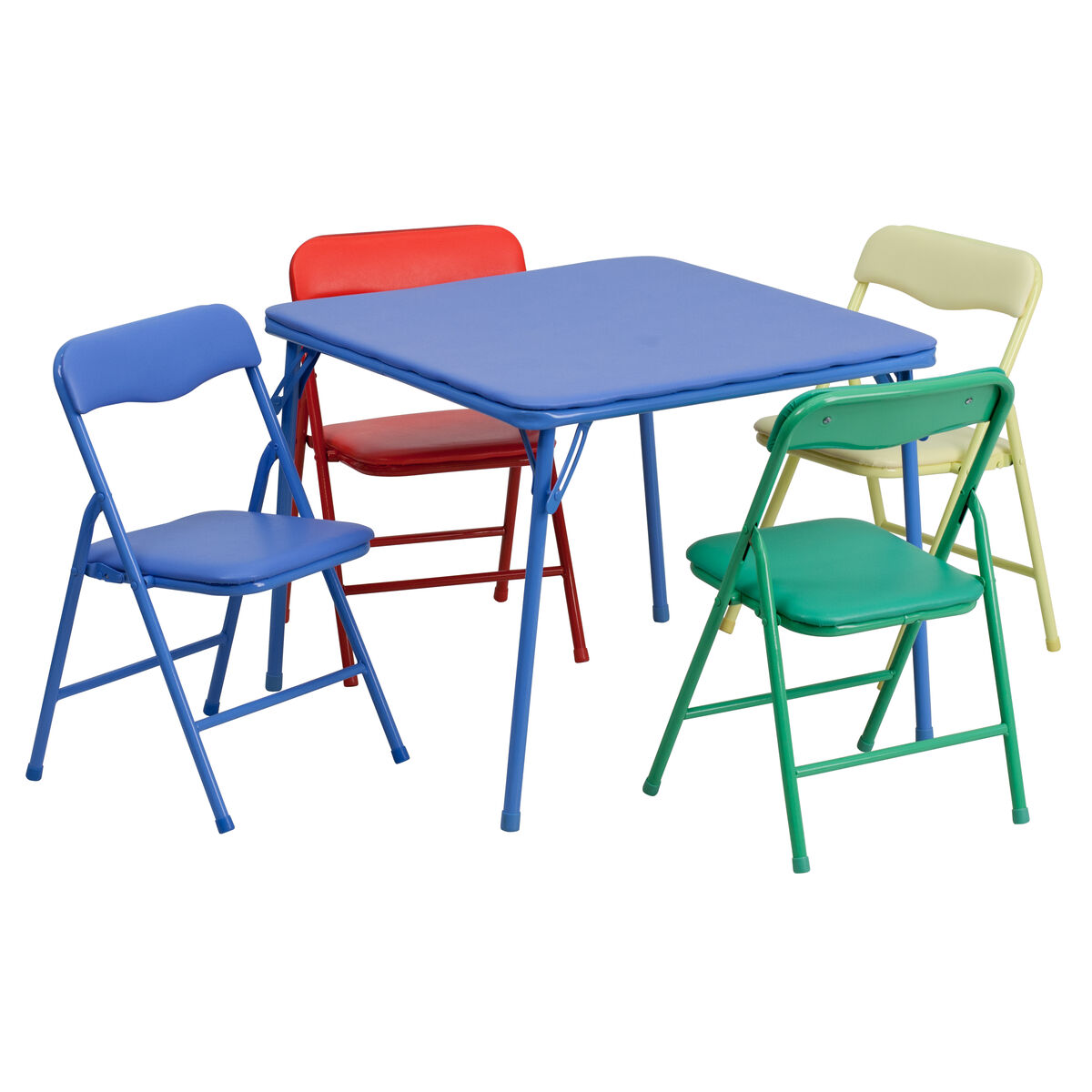 Stupendous Kids Colorful 5 Piece Folding Table And Chair Set Squirreltailoven Fun Painted Chair Ideas Images Squirreltailovenorg