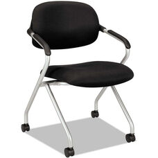 Basyx® VL303 Series Nesting Arm Chair with Silver Frame and Casters - Black