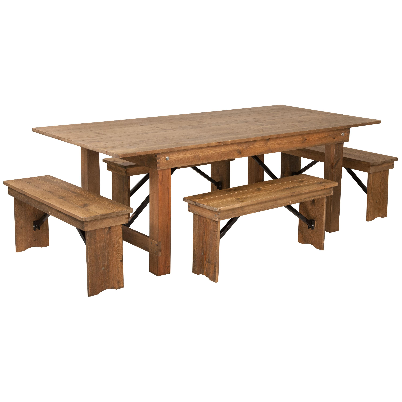 ... Our HERCULES Series 7u0027 X 40u0027u0027 Antique Rustic Folding Farm Table And Four