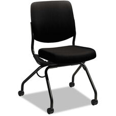 HON® Perpetual Series Mobile Nesting Armless Chair with Upholstered Back and Seat - Black