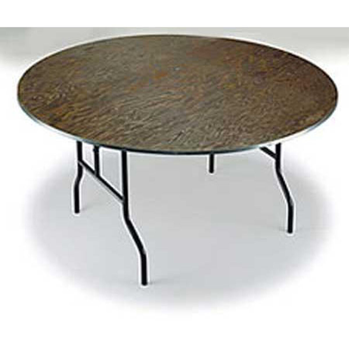 Our E Series Small Walnut Stain Top Plywood Core 30 Diameter Round Folding Table