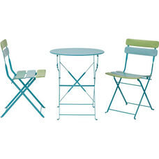 OSP Designs JX432AS 3 Piece Metal Folding Table Set - Blue and Green