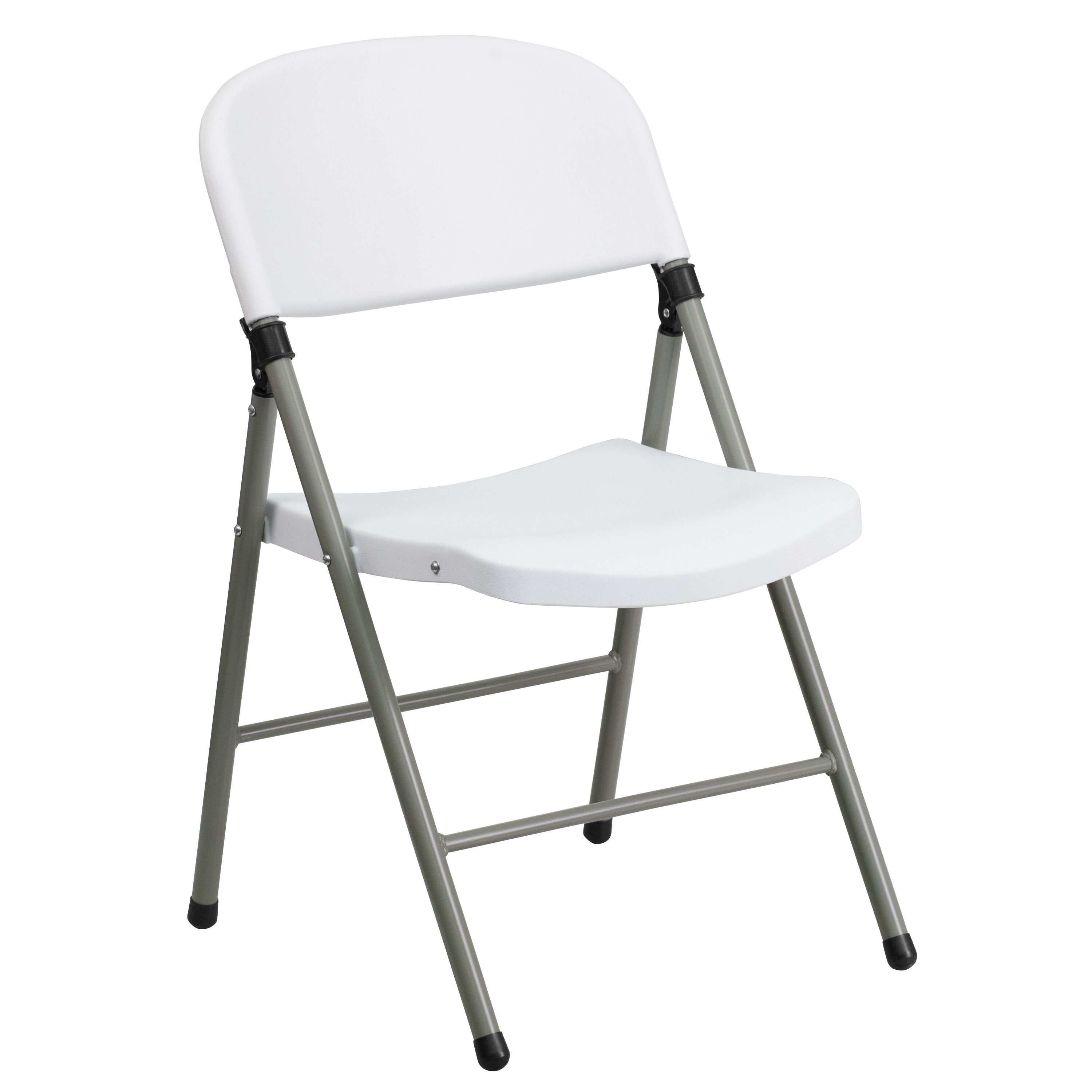 Capacity White Plastic Folding Chair With Gray Frame