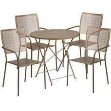 "Commercial Grade 30"" Round Gold Indoor-Outdoor Steel Folding Patio Table Set with 4 Square Back Chairs"