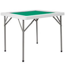 3-Foot Square Granite White Folding Game Table with Green Playing Surface and 4 Cup Holders