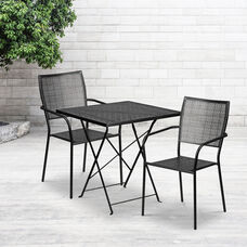 """Commercial Grade 28"""" Square Black Indoor-Outdoor Steel Folding Patio Table Set with 2 Square Back Chairs"""
