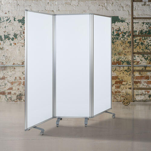 """Our Mobile Magnetic Whiteboard Partition with Lockable Casters, 72""""H x 24""""W (3 sections included) is on sale now."""