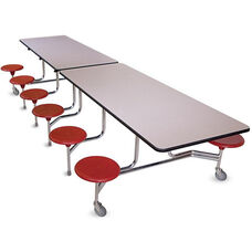 Intermediate Foldable Cafeteria Table with 12 Attached Round Seats - 120
