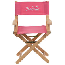 Embroidered Kid Size Directors Chair in Pink