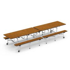 Quick Ship MTB Series Medium Oak Mobile Folding Bench Table with 17
