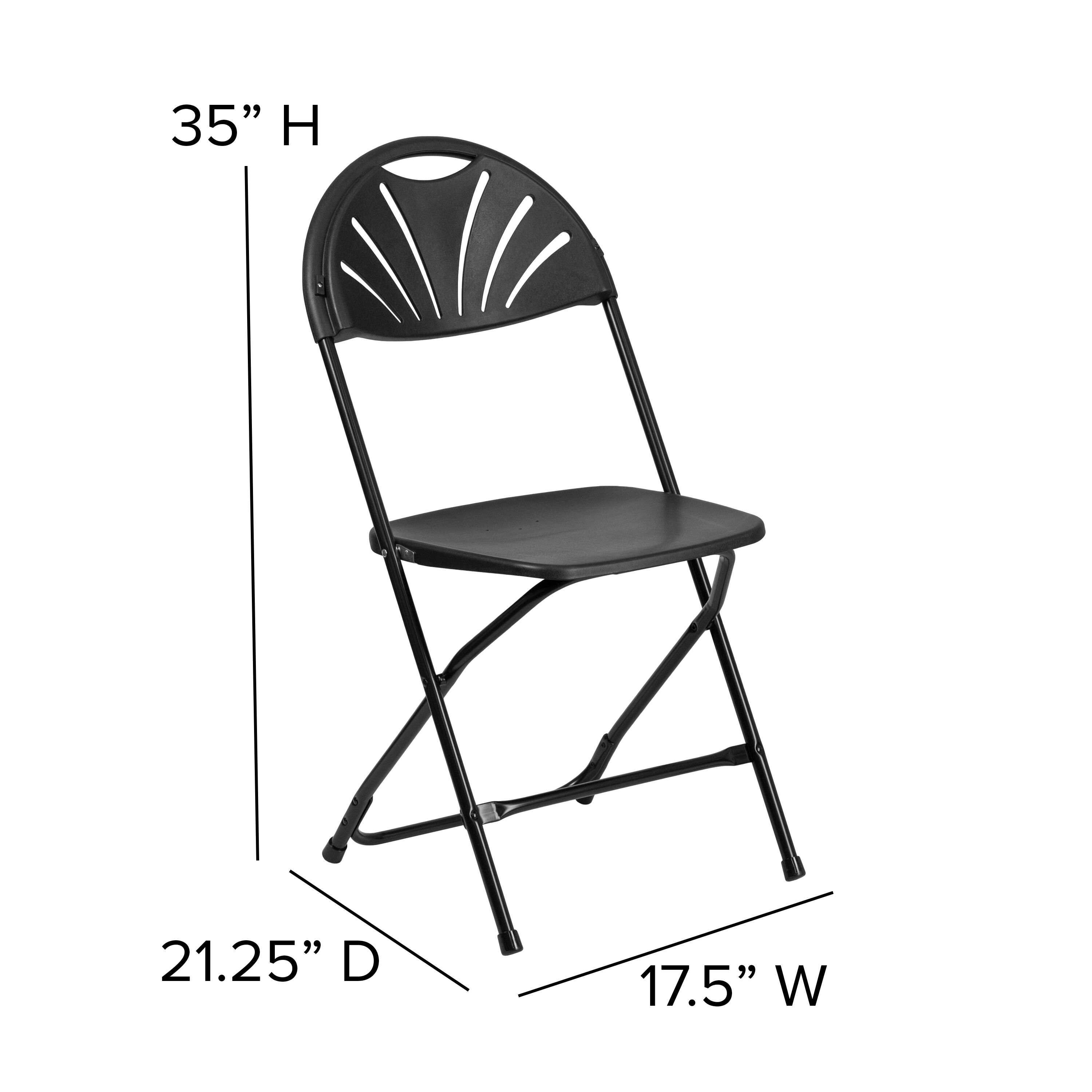 Delicieux Capacity Black Plastic Fan Back Folding Chair