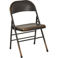 OSP Designs Bristow Distressed Steel Folding Chair - Set of 2 - Antique Copper