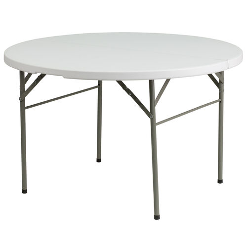 "Our 48"" Round Bi-Fold Granite White Plastic Banquet and Event Folding Table with Carrying Handle is on sale now."