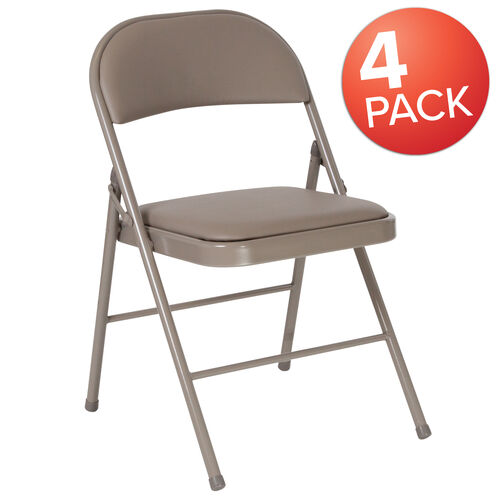 Our 4 Pack Winslow Home Gray Vinyl Padded Metal Event Folding Chair is on sale now.