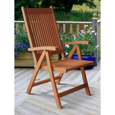 Malibu Outdoor Patio Wood 5 Position Reclining Armchair