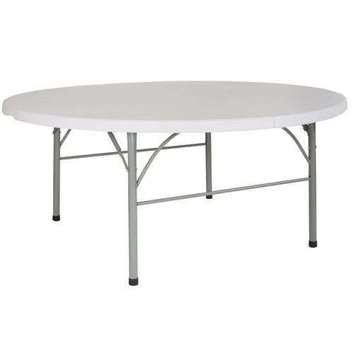 "Our 72"" Round Bi-Fold Granite White Plastic Banquet and Event Folding Table with Carrying Handle is on sale now."