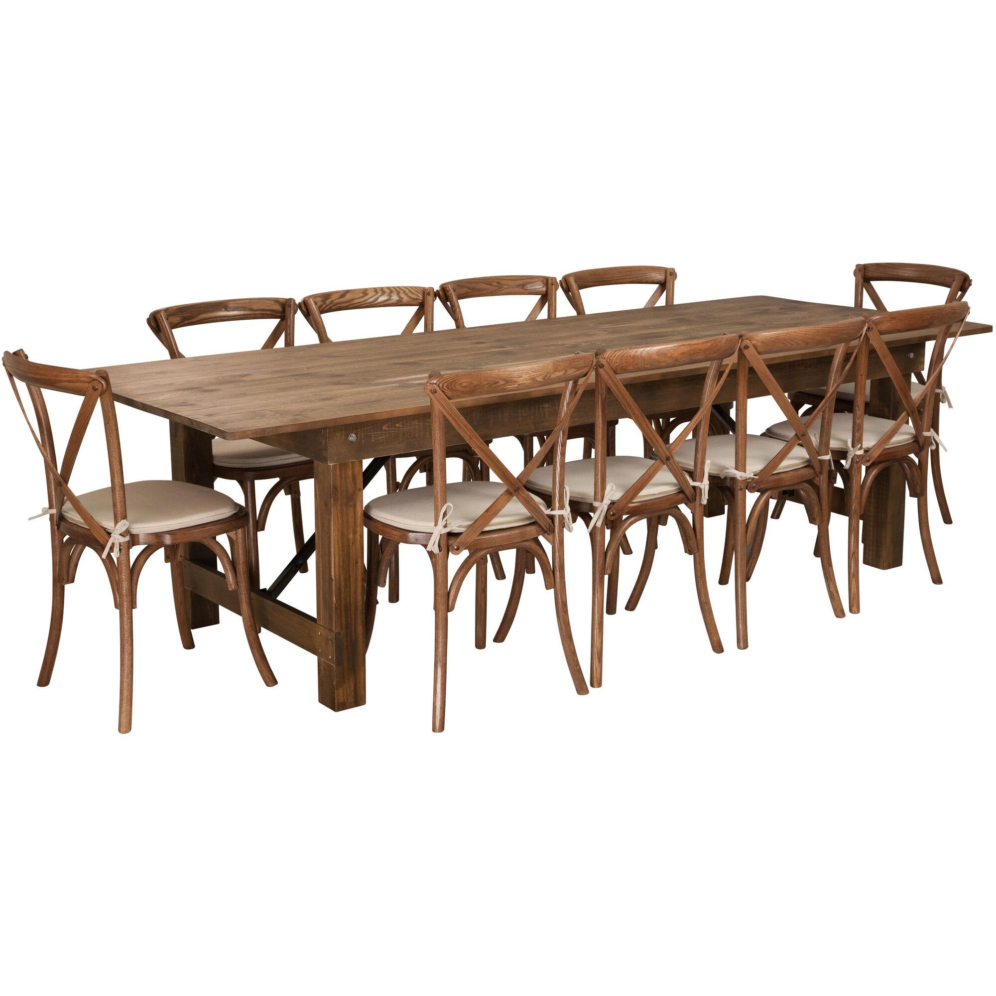 Awesome Hercules Series 9 X 40 Antique Rustic Folding Farm Table Set With 10 Cross Back Chairs And Cushions Frankydiablos Diy Chair Ideas Frankydiabloscom