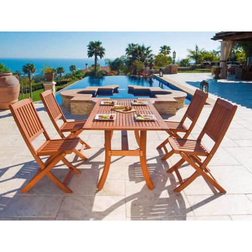 Our Malibu 5 Piece Outdoor Wood Dining Set with Curvy Leg Table and 4 Folding Chairs is on sale now.