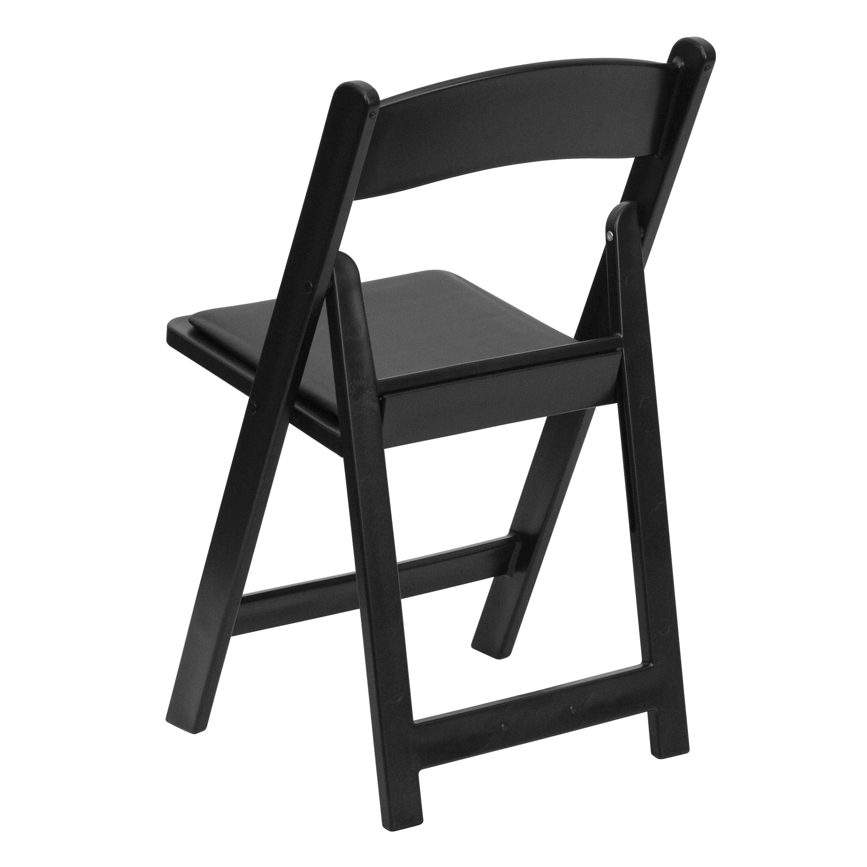 Capacity Black Resin Folding Chair With Black Vinyl Padded Seat ...