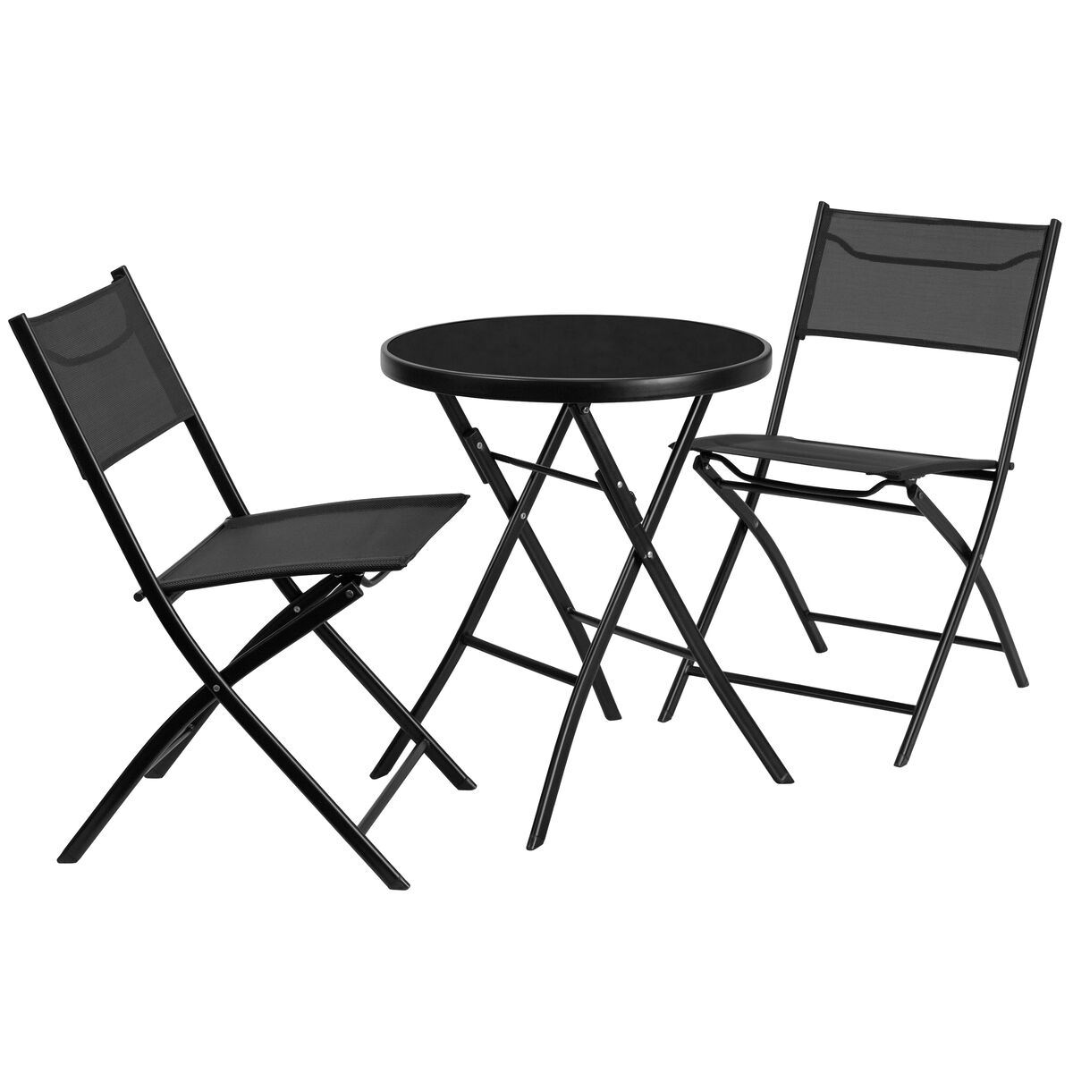 Our 23 75 Round Tempered Glass Metal Outdoor Table Set With 2 Textilene Fabric Folding