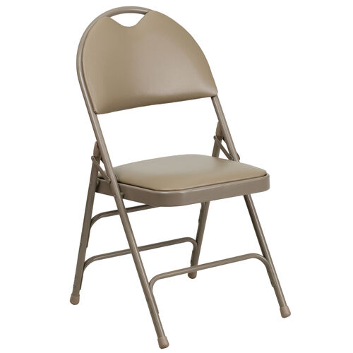 Our HERCULES Series Ultra-Premium Triple Braced Beige Vinyl Metal Folding Chair with Easy-Carry Handle is on sale now.