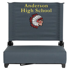 Embroidered Grandstand Comfort Seats by Flash with Ultra-Padded Seat in Dark Blue