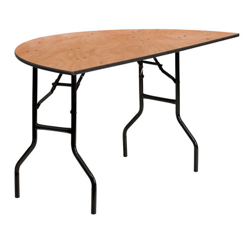 Our 5-Foot Half-Round Wood Folding Banquet Table is on sale now.