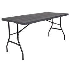 5-Foot Bi-Fold Wood Grain Plastic Folding Table