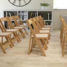 HERCULES Series Natural Wood Folding Chair with Vinyl Padded Seat