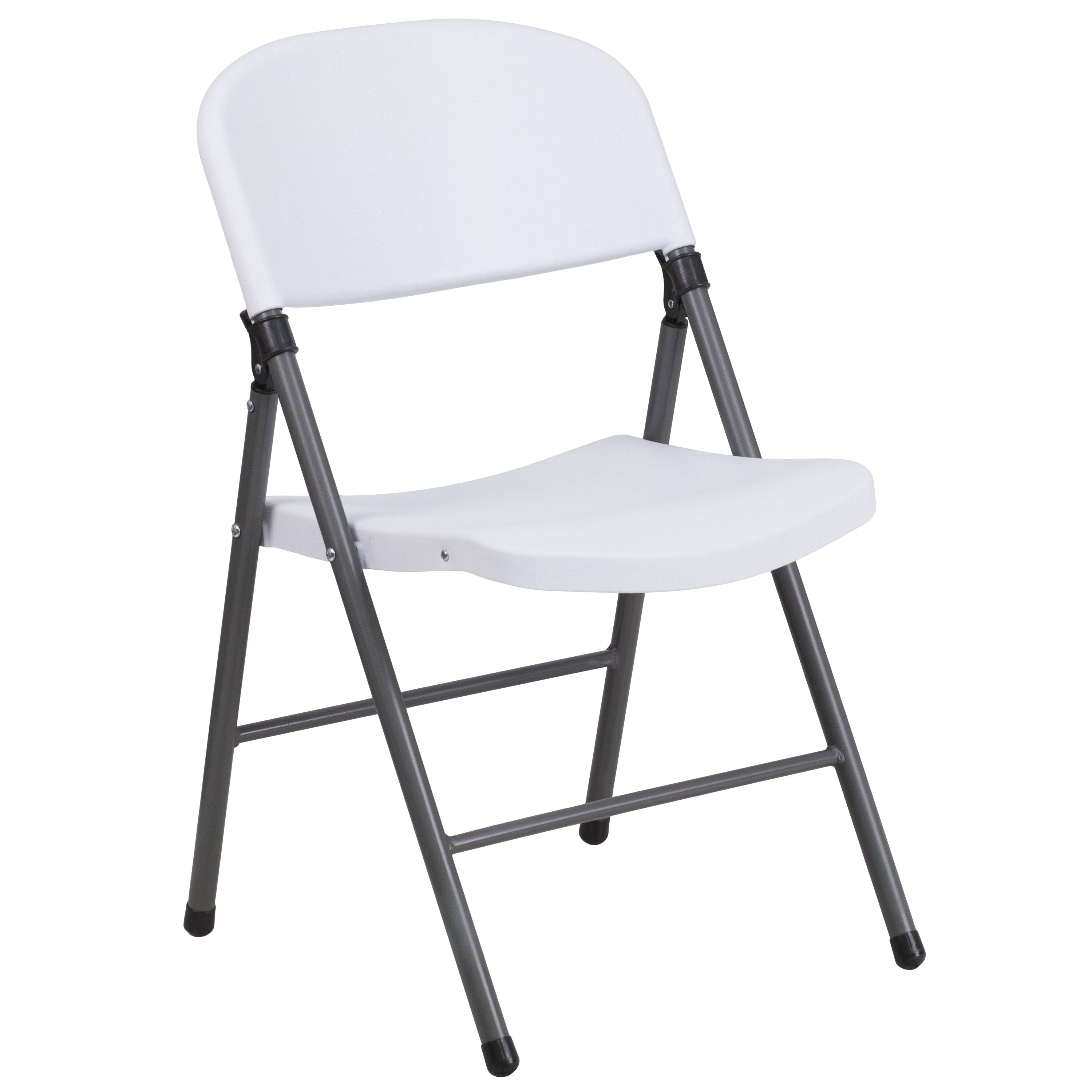 Delicieux Capacity Granite White Plastic Folding Chair With Charcoal Frame